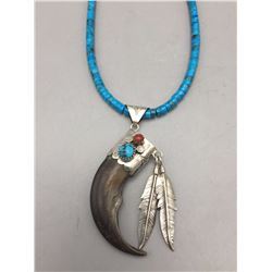 Turquoise, Coral and Claw Necklace