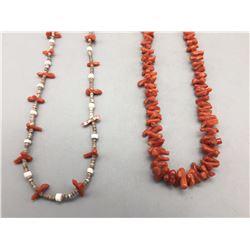 Two Vintage Coral Necklaces