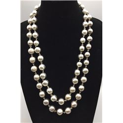 Two Silver Bead Necklaces