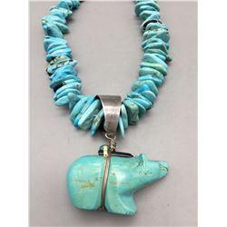 Turquoise Bear Fetish Necklace