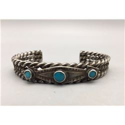 Circa 1930s Sterling Silver and Turquoise Bracelet