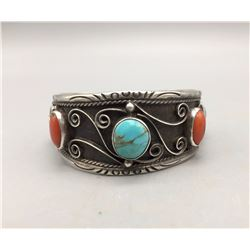 Vintage Coral and Turquoise Bracelet