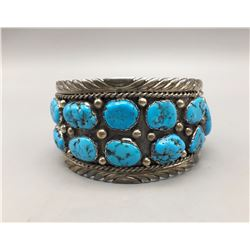 Large Turquoise and Sterling Silver Bracelet
