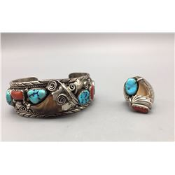 Turquoise, Coral and Claw Bracelet and Ring