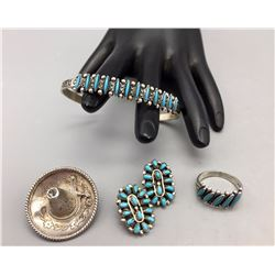 Bell Trading Post Bracelet, Ring and Earrings + Mexican Pin