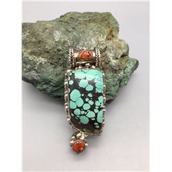 Southwest Style Turquoise and Coral Pendant