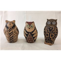 Three Owl Effigy Pots