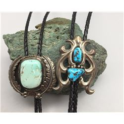 Two Vintage Turquoise and Sterling Silver Bolos