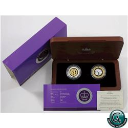 Australia Mint 2006 50-cent Selective Gold Plating Royal Collection Silver Proof 2-coin Set in Woode