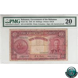 Bahamas Pick# 10a. 1936 The Bahama's Government 10/ Shillings, J.H. Jarrett at left, Columbus Waterm