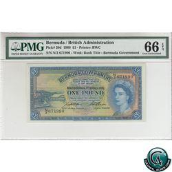Bermuda Pick# 20d. 1966 Bermuda 1 Pound, British Administration, S/N: N/2 671990-Wmk: Bank Title. PM