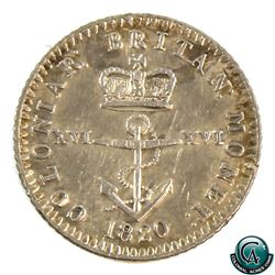 British West Indies 1820 1/16th Silver Dollar (KM1). A nice attractive EF
