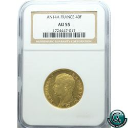 France AN14A Gold 40 Franc NGC Certified AU-55