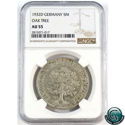 Germany 1932D 5-Mark Oak Tree NGC Certified AU-55.