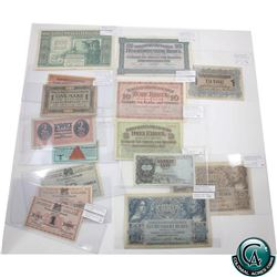 "Lot of 15x German & Hungarian Military Money. Lot includes: German Military POW Camps ""lagered"" 2 Re"