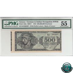 Greece Pick# 132a. 1944 Bank of Greece, Greece/German & Italian Occupation WWII $500,000,000