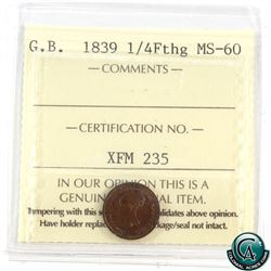 Great Britain 1839 1/4 Farthing ICCS Certified MS-60.