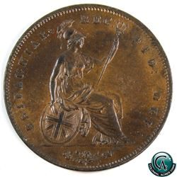 Great Britain 1854 Penny, Young Head, lustrous AU with great strike details.