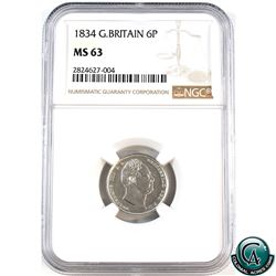 Great Britain 1834 6 Pence NGC Certified MS-63. Nice bright full white coin.
