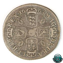 Great Britain 1663 Charles II Silver Shilling Fine. A nice natural colour with even wear throughout.