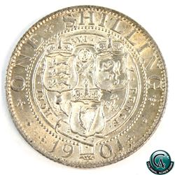 Great Britain 1901 Queen Victoria Silver Shilling Veiled Head. Bright BU