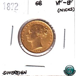Great Britain 1872 Full Gold Sovereign, young head shield design, in Choice VF-EF.