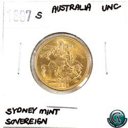 Great Britain 1887-S Gold Sovereign 'Sydney Mint' UNC