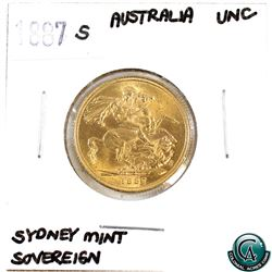 Great Britain 1887-S Gold Sovereign 'Sydney Mint' UNC