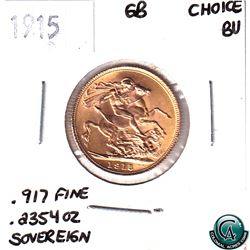 Great Britain 1915 Gold Sovereign Choice BU.