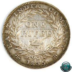 India 1834 William IV Silver Rupee (KM450) a nice VF+.