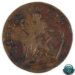 Ireland 1723 George I Woods Hibernia half penny (KM-117.2) VF (Oxidation)