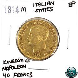 Italian States 1814M Gold 40 Francs Kingdom of Napoleon Extra Fine