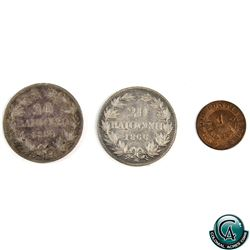Italy 3x Papal States coins, 2x 20 Baiocchi featuring Pius IX (1866R-KM1360a and 1860R-KM1360). VF t