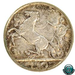 Italy 1928R Silver 10 Lire *RARE* (KM-68.1). A nice EF coin with some light patina throughout.
