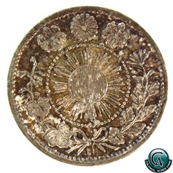 Japan 1871 Silver 5 Sen Yr.4 (One Year Type). A nice EF with natural toning throughout. *Scarce*