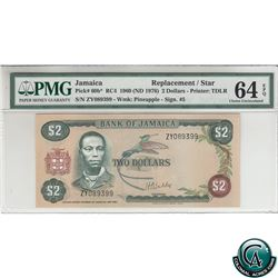 Jamaica Pick# 60b* 1960 (ND 1976) Bank of Jamaica Replacement $2, Pineapple Watermark, S/N: ZY089399