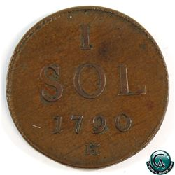 Luxembourg 1790H Leopold II 1 Sol. A nice VF Example.