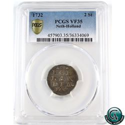 Netherlands-Holland 1732  2 stuivers PCGS Certified VF-35
