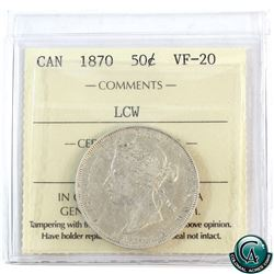 50-cent 1870 LCW ICCS Certified VF-20. A nice problem free coin.