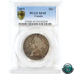 50-cent 1871 PCGS Certified XF-45