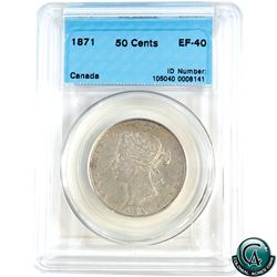 50-cent 1871 CCCS Certified EF-40.