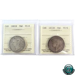 50-cent 1872H & 1881H ICCS Certified VG-8. 2pcs.