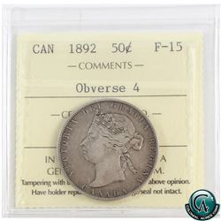 50-cent 1892 Obverse 4 ICCS Certified F-15. An attractive coin with deep even toning.