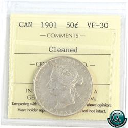 50-cent 1901 ICCS Certified VF-30 (cleaned).