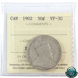 50-cent 1902 ICCS Certified VF-30. A nice medium tone, early Edwardian example.