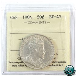 50-cent 1904 ICCS Certified EF-45. A bright coin with hints of mint luster.