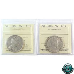 50-cent 1906 & 1909 ICCS Certified F-15. 2pcs.