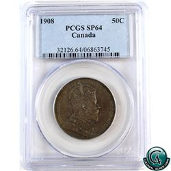 50-cent 1908 PCGS Certified SP-64