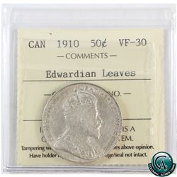 50-cent 1910 Edwardian Leaves ICCS Certified VF-30.