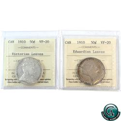 50-cent 1910 Edwardian Leaves & Victorian Leaves ICCS Certified VF-20. 2pcs.